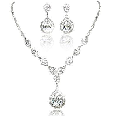 EVER FAITH Austrian Crystal Zircon Wedding Teardrop Necklace Earrings Set