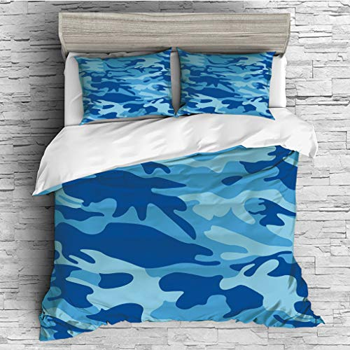 SCOCICI King Size Duvet Cover Set/Camouflage,Abstract Camo Navy Military Costume Concealment from The Enemy Hiding,Pale Blue Navy Blue / 3 Piece Bedding Set