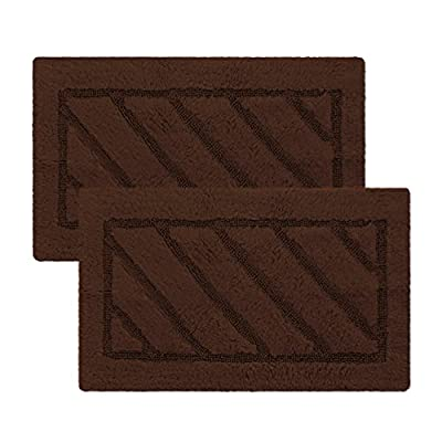 Berrnour Home Soft Hand Tufted Cotton Bathroom Mat Rug, 17-Inch-by-24-Inch (2-Pack),  Brown - Absorbent and durable Manufactured in Turkey - bathroom-linens, bathroom, bath-mats - 51xwyhGsoaL. SS400  -