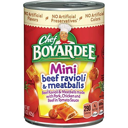 Chef Boyardee Mini Beef Ravioli and Meatballs, 15 Ounce (Pack of 24) - Italian Beef Kit