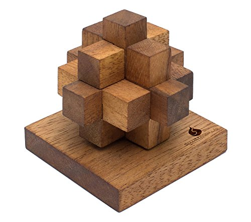Newtons Comet: Handmade & Organic 3D Brain Teaser Wooden Puzzle for Adults from SiamMandalay with SM Gift Box(Pictured)