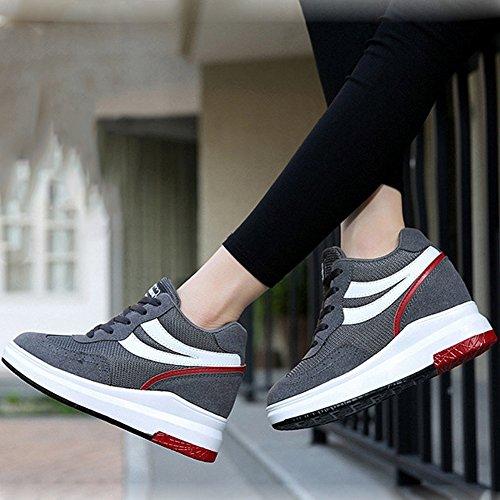 Cybling Caché Mi-talon Plate-forme Wedge Sneaker Pour Les Femmes Décontracté Mi-haut Chaussures De Marche Gris Foncé