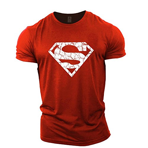 Superman Athletic Shirt - GYMTIER Mens Bodybuilding T-Shirt - Superman Vascular - Gym Training Top Red