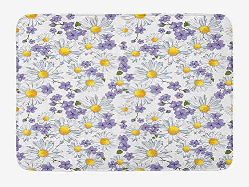 - Weeosazg Floral Bath Mat, Blossoming Chamomile Wild Flower Summer Background Spring Natural Pattern, Plush Bathroom Decor Mat with Non Slip Backing, 23.6 W X 15.7 W Inches, White Yellow Purple