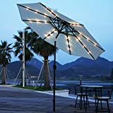 Adeco 9 Feet Outdoor Market Aluminum Solar Cell LED Light Umbrella with Tilt and Crank, for Patio Yard Beach cafe and pub,8 Ribs Rust-resis Heavy DutyWithout base