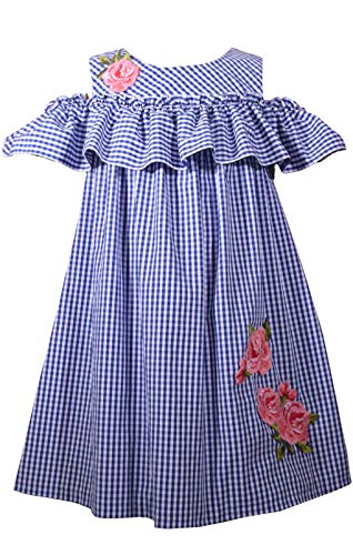Bonnie Jean Toddler or Girls Sundress Gingham Check Cold Shoulder Dress (6) - Gingham Jeans Jean Bonnie
