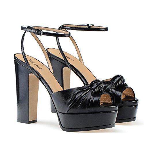 Alto Mujer De Baile Sandalias Tacón TLJ black KJJDE Sexy Moda Zapatos 081 Puntera Hueco Abierta De Tacón Fiesta Nudo Alta OTwqI6d