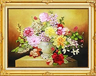 Aureate Handmade Ribbon Embroidery Kits Canvas 3D Wall Art Home Decoration DIY Needlepoint Tapestry Hanging Gift Summer Seaside 24/×30