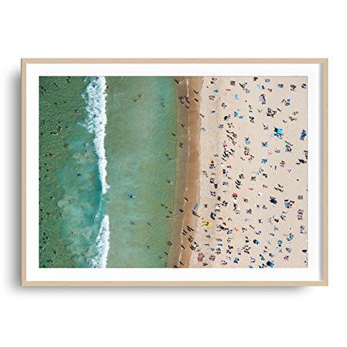 Ash Wood Stripe (30x42 Large Framed Bondi Beach Aerial Photography - Bondi Stripe (Solid Hardwood Ash))