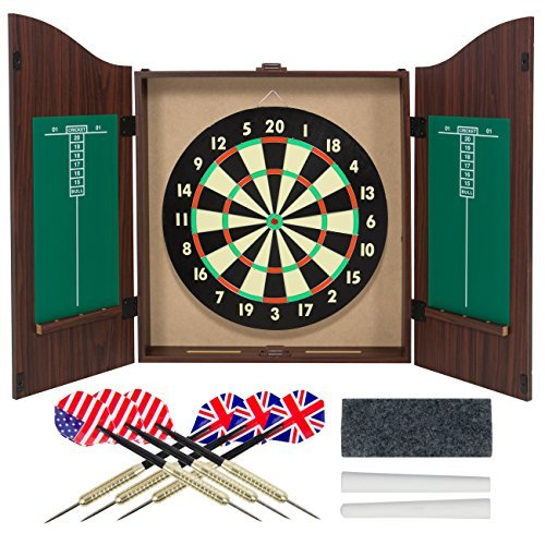 [Dartboard & Cabinet Wood Game Realistic Walnut Finish Party Home Family Game Stress Relaxation Gameroom Door Mounted Indoor] (Megaman Halloween Costume)