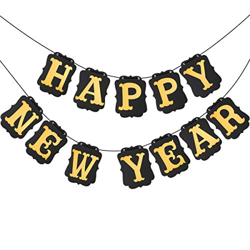 BESTOYARD Happy New Year Streamer Paper Banners 2018 New Year Decorations Hanging Banner Gold Signs for New Year Party Decorations (Black Banner Golden Letter)