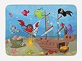 Ambesonne Pirate Bath Mat, Cartoon Ship Under the Sea Discovered by Sea Animals Treasure Chest Marine Adventure, Plush Bathroom Decor Mat with Non Slip Backing, 29.5 W X 17.5 W Inches, Multicolor