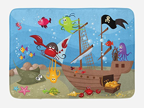 Ambesonne Pirate Bath Mat, Cartoon Ship Under The Sea Discovered by Sea Animals Treasure Chest Marine Adventure, Plush Bathroom Decor Mat with Non Slip Backing, 29.5 W X 17.5 L Inches, Multicolor ()