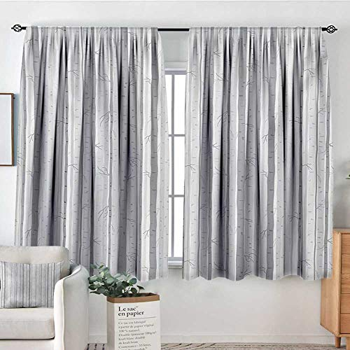 L-desk Park Grove (Mozenou Grey and White Waterproof Window Curtain Birch Tree Grove Leafless Branches Winter Woodland Illustration Bedroom Blackout Curtains 55