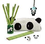 Panda Party Supplies Favors Included 12 Panda Bamboo Pencils 1 Panda Pencil Holder 1 Panda Pencil Case 1 Panda Sharpener 1 Panda Earser 1 Panda Keychain for Kid Teens Birthday Party (Style-2)