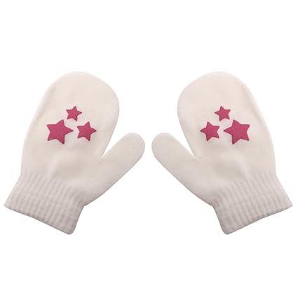 Lovely Kids Dot Star Heart Pattern Mittens Boys Girls Soft Knitting Warm Gloves