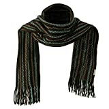 Acrylic Knit Stripe Muffler - Brown Blue W31S44D