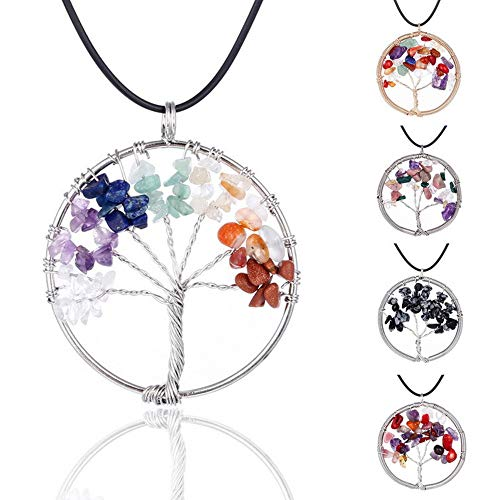 Joya Gift Tree of Life Keychain Natural Crystal Stone Handmade DIY Keychain Charm Pendant Necklace (7 Chakra Gemstone)