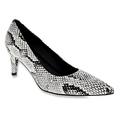Sophia Black Snake PU White Walking Print Women's Cradles Pump qYOwYTIx