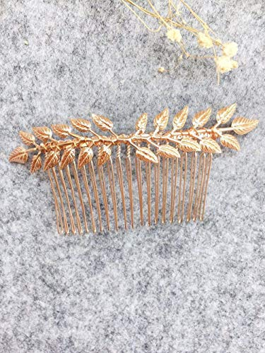 Aegenacess Wedding Hair Combs Decorative Leaf Leaves Blush Bridal Hair Clip Laurel Greek Branch Boho Grecian Side Comb Accessories Headpieces for Brides and Bridesmaids Women Girls (Rose Gold)