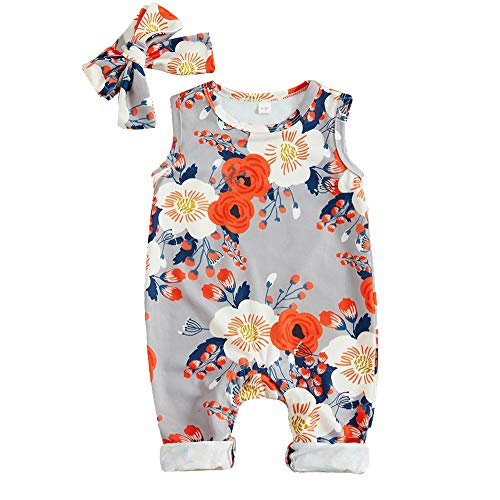 Footless Romper - Newborn Baby Girl Clothes Floral Long Sleeve Footless Romper Jumpsuit Cotton 6-12 Months