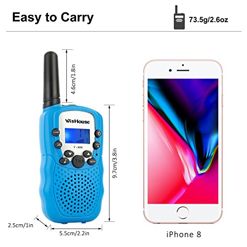 WisHouse Walkie Talkies for Kids,Fashion Toys for Boys and Girls Best Handheld Two Way Radio with Flashlight for 4 Year Old and up to Camping Hiking Riding and Cruise Ship(T388 Blue 4 Pack) by Wishouse (Image #4)