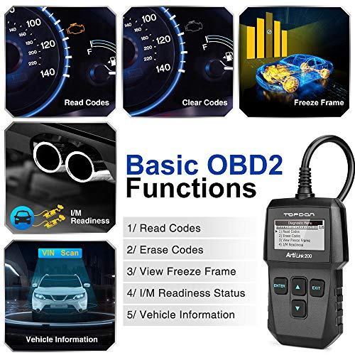 OBD2 Scanner - Fualt Code Reader with Clear Check Engine Light, CAN OBDII  Car Diagnostic Scan Tool for All 1996+ Vehicles, Simple Operation