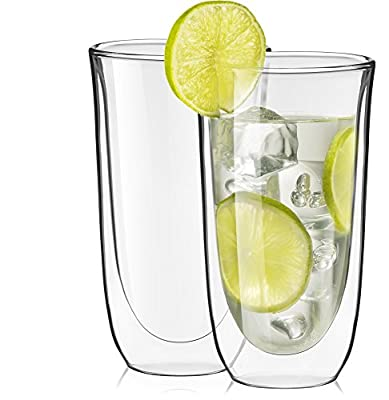 JoyJolt Spike Double Wall Glasses, Cocktail Beer Drinkware Glass Set of 2 13.5-Ounces