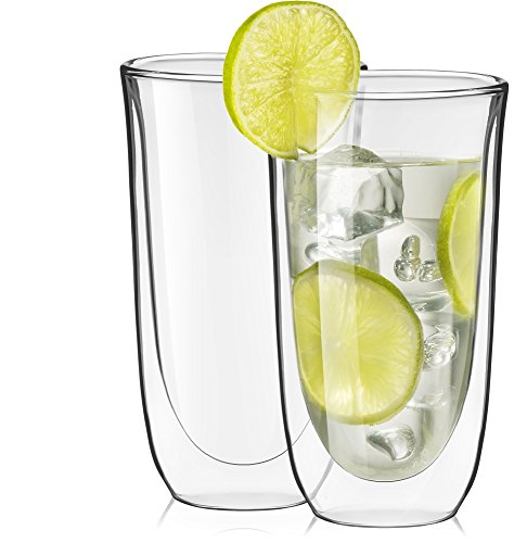 Double Wall Cocktail (JoyJolt Spike Double Wall Glasses, Cocktail Beer Drinkware Glass Set of 2 13.5-Ounces)