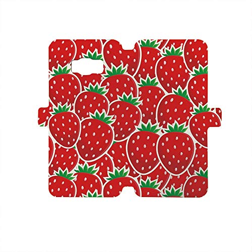 Premium PU Leather Magnetic Flip Folio Protective Sleeve for Samsung Galaxy S8,Fruits,Strawberry Themed Botany Seeds Yummy Food Organic Growth Diet Health Print Decorative,Red Hunter Green ()