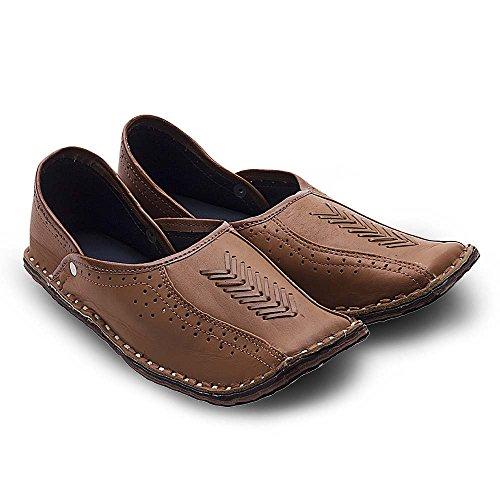 Great Art Men Rajasthani Handmade Ethnic Juti Tan Leather Mojari Shoe 201 - 10