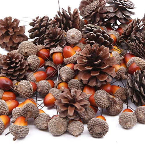 Total 120 Pcs Artificial Acorns and Natural Pinecones Ornament Set for Home House Christmas Decoration Photo Props -