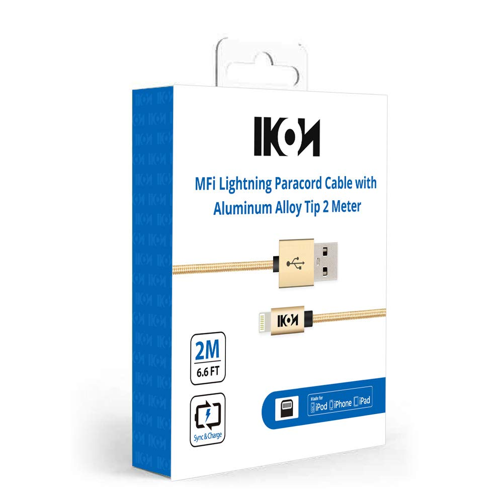 IKON MFi Certified Lightning to USB Charging Cable for iPhone Xs Max, Xr, Xs, X, 8/8 Plus, 7/7 Plus, 6/6 Plus, 5/5s/5c, iPad Mini/Air/Pro, and iPod Nano Touch - 10 Pack (Gold, 2M) by VEME