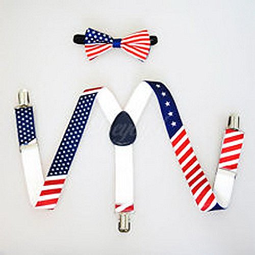 Scott Allah design - Accessories USA Flag Suspender and Bow Tie Set for Baby Toddler Kids Boys Girls (Toddler Suspenders Batman)
