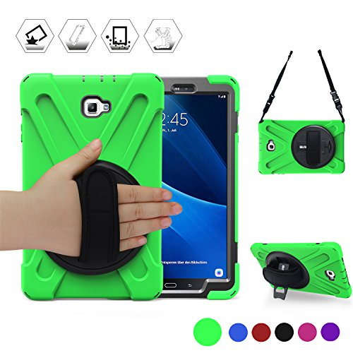 BRAECN Samsung Galaxy Tab A 10.1 Case Full-Body Shock-Proof Anti-Slip Three Layer Heavy Duty Rugged Kids Friendly Case with Stand/Hand Strap for Galaxy SM-T580/T585 Tablet [No S Pen Version] Green