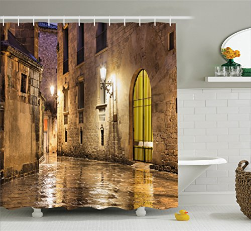 Ambesonne Gothic Decor Shower Curtain Set by, Gothic Ancient Stone Quarter of Barcelona Spain Renaissance Heritage Gothic Night Street Photo, Bathroom Accessories, 84 Inches Extralong, Cream by Ambesonne