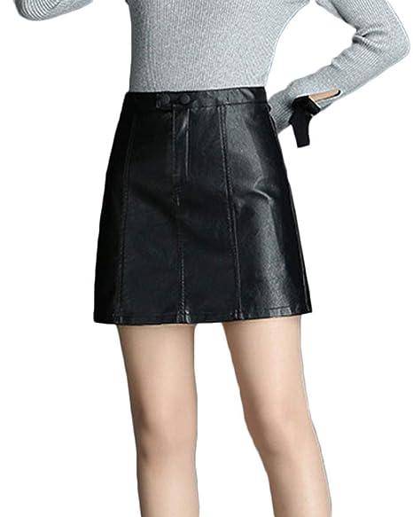 Faldas De Cuero PU Slim Fit para Mujer Mini Falda Corta Lápiz De ...