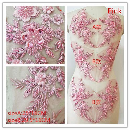 Hand Beaded Flower Sequence 3D Lace Applique Motif Sold by 3 Pairs Great for DIY Decorated Craft Sewing Costume Evening Bridal Top A6 (Pink)