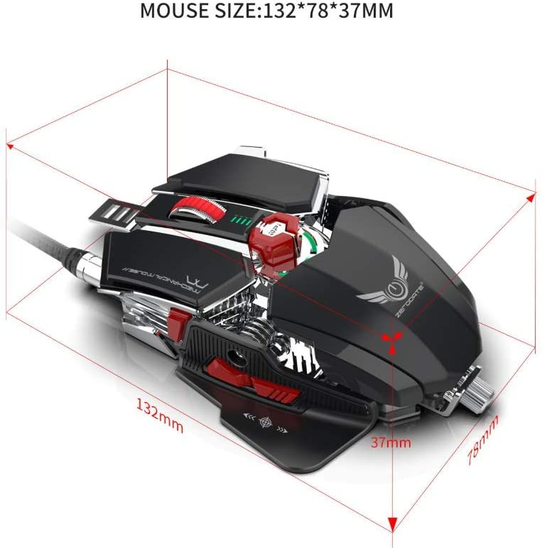 Programmable Gaming Mouse 16 Adjustable DPI 10 Programmable Keys for Games and Office,Black Wired Mouse RGB Cool Lighting