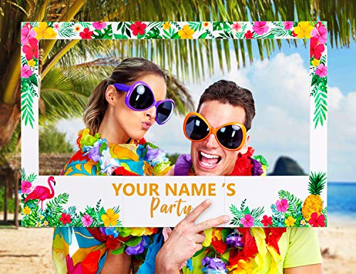 Large Size Luau Photo Booth Props Frame Party Supplies Decorations - For Hawaiian Tropical Tiki Birthday Baby Bridal Wedding Shower -