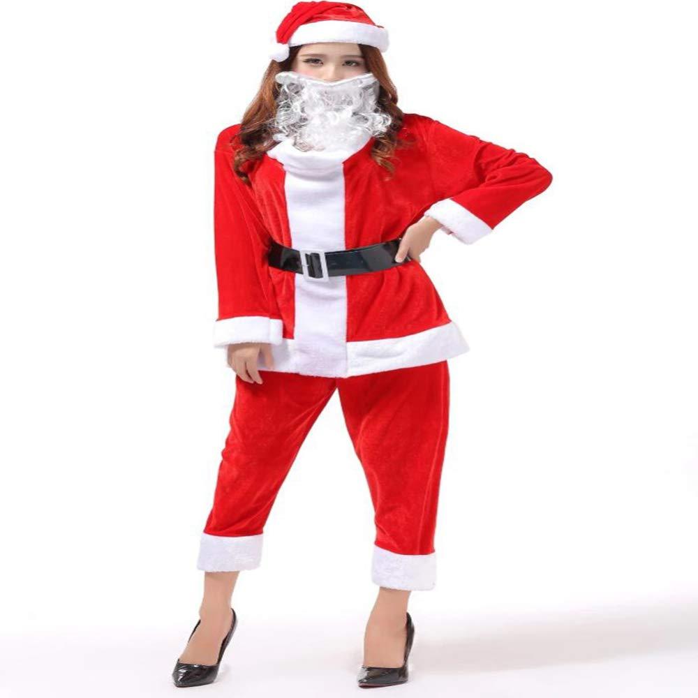 CVCCV Weihnachtskostüm Kleidung für Erwachsene Damen Cos Ball Ds Kostüme Baumwollgewebe (Rot)