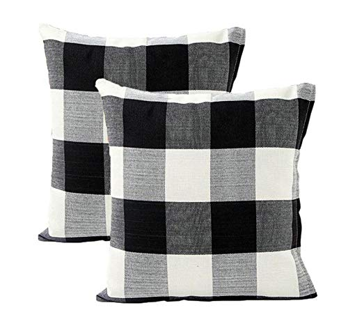 2 Pack Classic Black White Plaid Thickened Cotton Linen Square Throw Pillow Cover Cushion Cases For Home Sofa Bedroom 18x18 Inches (5 - Potter Inch 18 Harry Figure