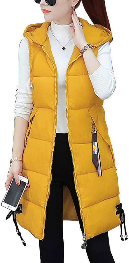 Women/'s Cotton Blend Lapel Sleeveless Coat Vest Mid Long Slim Fit Outwear Fashio