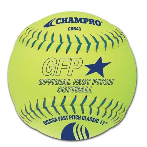 CHAMPRO Synthetic USSSA Fast Pitch Ball (Optic Yellow, 11-Inch) ()