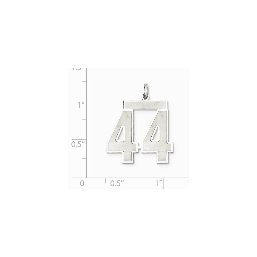 Sterling Silver Large Satin Number 44 Charm Pendant