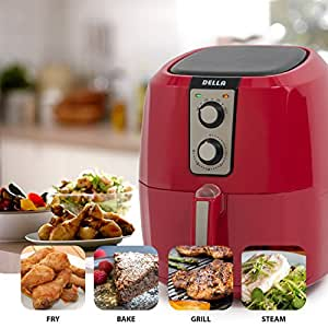 DELLA 048-GM-48268-RD Multi Cooker Rapid Air Circulation System XL Electric Air Fryer, Small, Red