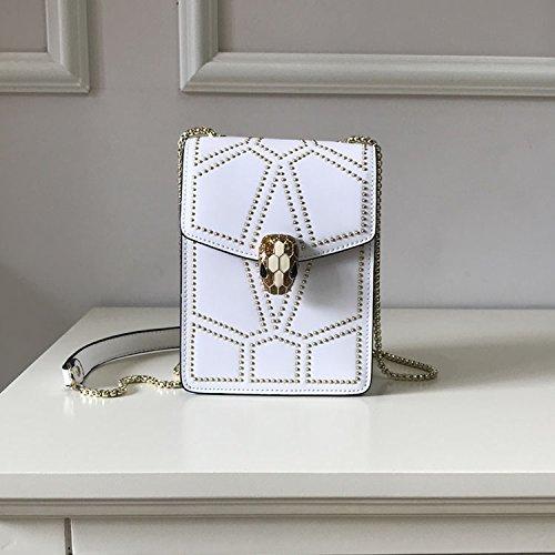 real female snake shoulder single head satchel bag rivet bag bag white small WXIN fairy leather bag box Summer B4Avqnx0