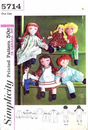 Amazon.com: Simplicity 5714 Boy Girl Rag Dolls Vintage Sewing ...