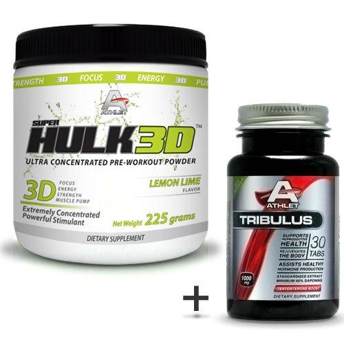 Athlet savoir Hulk3d pré-séance d'entraînement en poudre 225 gr Citron Lime-F ocus-Free Tribulus
