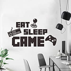 Eat Sleep Game Wall Decor for Bedroom, Poster Lettering Wall Decorations for Living Room, Murals for Boys Girls Playroom Classroom Wall Decals